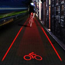 Bicycle Bike Red 2Laser Beam 5 LED Cycling Rear Tail Warning Lamp Light UKSTOCK