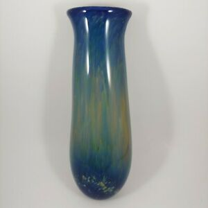 "HANDMADE Blue Art Glass 10"" Wall Pocket Hanging Vase - Modern Hand Blown Signed"
