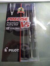 12 Pilot V5 Black 05 Extra Fine Premium Rolling Ball Ink Pens 36380 Pv5c5blk