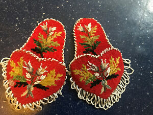 PAIR ANTIQUE BEADWORK NEEDLEPOINT POCKET WATCH HOLDER/WALL POCKETS