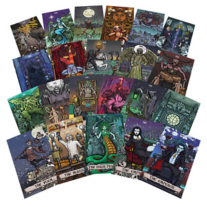 "Terror Tarot Card Sticker Pack - Gothic Halloween Horror Stickers (3"" x 1.85"")"