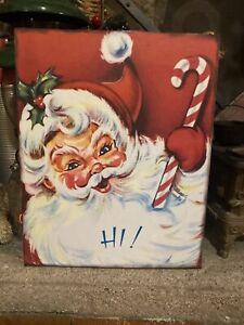 Vintage Santa Claus Sign, Retro Santa Wall Art, Christmas Decoration