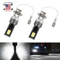 2Pcs H3 COB LED Headlight Conversion Kit Bulbs 6000K Driving DRL FOG Lights Lamp