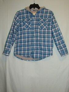 LL Bean Boys Medium (10-12) Snap Up Flannel Hoodie Fleece Lined Excellent+
