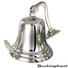 More details for buckingham solid brass large ship bell, pub bell, door bell nickel plated 20 cm