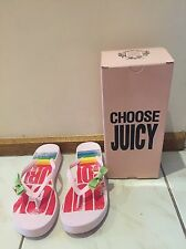 As New Women's Baby Pink Juicy Couture Oceanside Thongs Size 9M