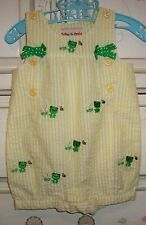 Toffee Apple Romper Sunsuit Yellow Striped Seersucker with Frogs Size 9 Months