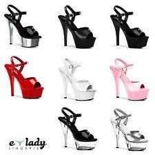 "Pleaser Kiss-209 Shoes Platform Sandals 6"" Stiletto High Heels Ankle Strap New"
