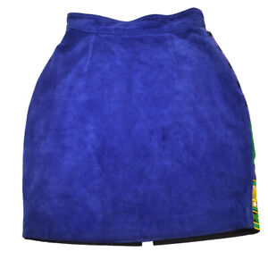 GIANNI VERSACE Above The Knee Skirt Blue Italy Vintage 00542