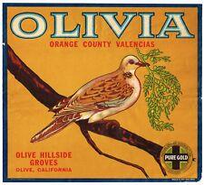 GENUINE ORANGE COUNTY CRATE LABEL VINTAGE OLIVIA PEACE DOVE RARE 1930S PURE GOLD
