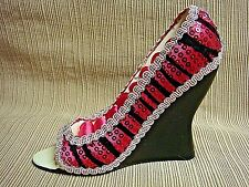 HOT PINK & BLACK Satin & Sequins FANCY MINIATURE SHOE RING HOLDER