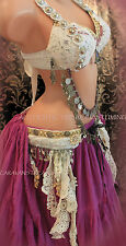 Lace on Lace Dance Bra/Belt SET 38D Gypsy Tribal Fusion Burlesque