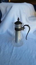 Glass Carafe with Cooling Tube - Pitcher Sterling Silver Trim