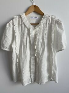 NWOT Zara Kids Girls Teen White Eyelet Embroidered Blouse Top Size 13-14