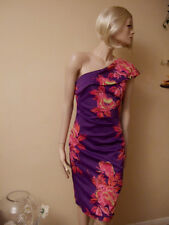 Karen Millen Tropical Print Stretch One Shoulder Wiggle Dress Pink Purple UK 6