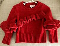 Cat And Jack Toddler Girls Sweater Ruffles Red 2T