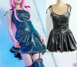The Future Diary/Mirai Nikki Gasai Yuno Black PU Dress Aniem Cosplay Cos
