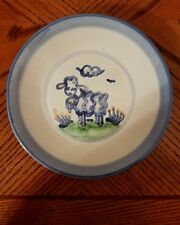 """M.A. Hadley Blue Cow Country Scene 9"""" Plate Pottery Bues Grays"""