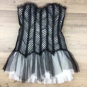 Mossman Playing for Keeps Black White Strapless Dress Sz 12 NWT RRP $449 (AT16)