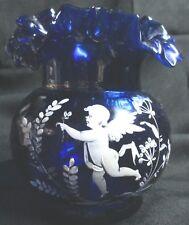 Antique Cobalt Blue Scalloped & Fluted Rim Hand Painted Cupid In Garden Vase
