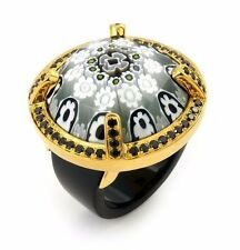 ALAN K. EXQUISITE COLLECTION FACETED BLK/WHT MURANO GLASS GP RING WITH CZS RING