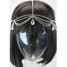 Silver Head Chain Clear Stone Tassels Egyptian Bohemian Style JHC1033 Silver