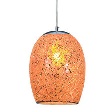 Searchlight 1 Luce Arancione Crackle Glass Pendente Lampadario Soffitto Montaggio Nuovo
