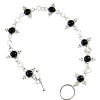 bonnie Black onyx 925 Solid Sterling Silver Black Bracelet genuine gemstones US