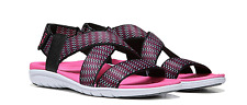 NEW RYKA BELMAR STRETCH STRAPPY SANDALS WOMENS 8.5 BLACK/PINK FREE SHIP