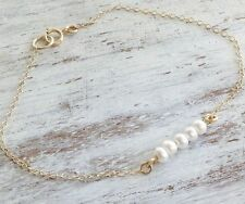 Pearl Designer Classic Wedding bracelet Gold Filled 14k Bracelet Genuine
