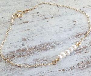Gold Filled 14k Bracelet Genuine Pearl Designer Classic Wedding bracelet