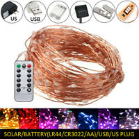 LED Copper Wire Battery Fairy String Lights Christmas Wedding Party Xmas Decor