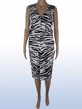 koan coin vestito abito donna bianco nero zebrato stretch taglia l large