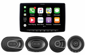 """ALPINE 9"""" CaprPlay Receiver+Front+Rear Polk Speakers For 2016-2019 Toyota Tacoma"""