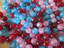 HUGE LOT OF DRAWBENCH CRACKLE GLASS BEADS 80 SPACERS CHARMS JEWELRY MACKING
