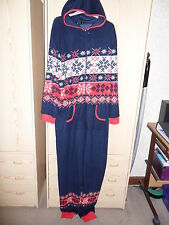 PRIMARK NAVY BLUE FAIRISLE PRINT FESTIVAL ALL IN ONE SLEEPSUIT SIZE L LARGE