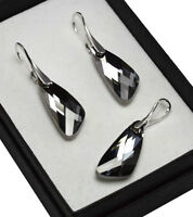 925 Silver Earrings/Set made with Swarovski Crystals 23mm WING Silver Night