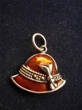 Sterling Silver Red Orange Enamel Marcasite LADY HAT & Bow Small CHARM Pendant