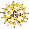 24 Pcs Emoji Keychain Mini  Lovely Emoticon Keyring Toy Gift for Wallet Bag