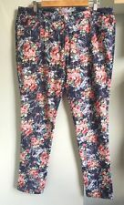 "JOE BROWNS Blue Floral Pattern Jeans Size 16  L30"" Mid Rise Stretch Good Cond."