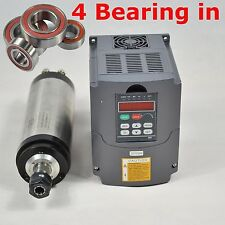 FOUR BEARING 3KW WATER-COOLED SPINDLE MOTOR ER20 MATCHING 3KW INVERTER DRIVE VFD