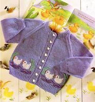 (775) Knitting Pattern for Baby Child's Cardigan - Cute Duck Motif, 20-26''
