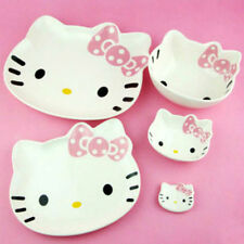 CERAMIC Bowl & Plate 5 pcs Hello Kitty Face White Color PINK Bow Cute Design Set