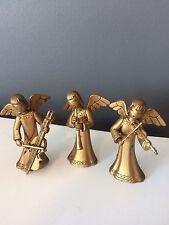 3 Vintage Angel Christmas Tree Ornament Gold Hong Kong Musicians Band