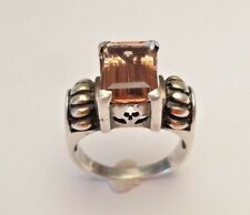 VINTAGE 12mm PINK TOURMALINE BEAUTIFUL RING SIZE 8 STERLING SILVER 925