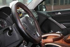 Brown Carbon Style PVC Leather Steering Wheel Wrap+Thread Nice Fit 47023c Size M