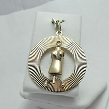 14K Gold Large 3D Fashion Designer Spinning Dress Form Charm Pendant 9.5gr