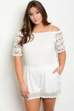 NEW..Stylish Plus Size White Off the Shoulder Romper Playsuit Shorts..SZ14/1xl
