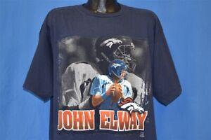 vtg 90s DENVER BRONCOS JOHN ELWAY STARTER NFL BLUE COTTON t-shirt FOOTBALL XL
