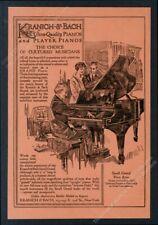 1915 Kranich & Bach grand piano illustrated vintage print ad